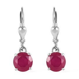 AA African Ruby Lever Back Earrings in Platinum Overlay Sterling Silver 4.000 Ct.