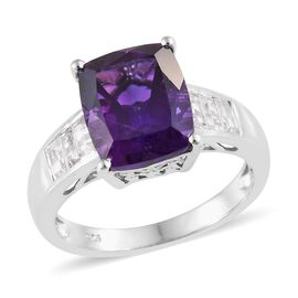 Lusaka Amethyst (Cush 5.25 Ct), Natural Cambodian Zircon Ring (Size M) in Platinum Overlay Sterling Silver 6.