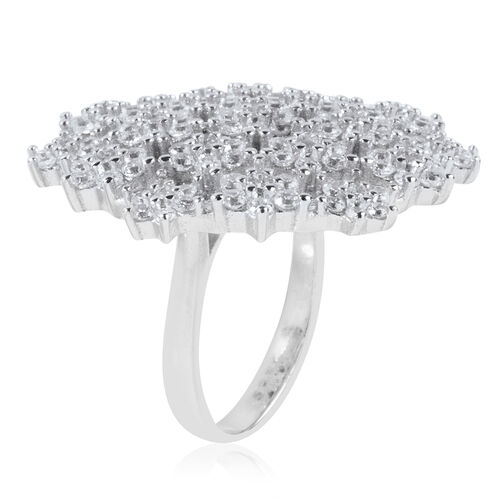 ELANZA Simulated Diamond (Rnd) Constellation Ring in Rhodium Overlay Sterling Silver, Silver wt 9.70 Gms