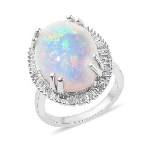 RHAPSODY 950 Platinum AAAA Ethiopian Welo Opal (Ovl), Diamond (VS/E-F) Ring 9.350 Ct., Platinum Wt.