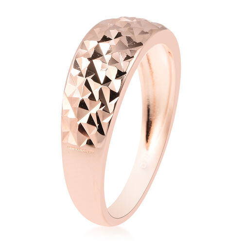 Rose Gold Overlay Sterling Silver Diamond Cut Ring