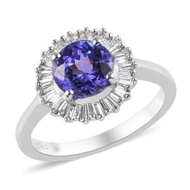 Sundays Child- 950 Platinum AAAA Tanzanite and Diamond (VS/E-F) Ring  1.75 Ct, Platinum wt. 5.00 Gms