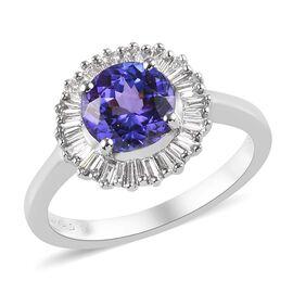 Sunday Child- RHAPSODY 950 Platinum AAAA Tanzanite and Diamond (VS/E-F) Ring  1.75 Ct, Platinum wt.