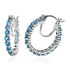 Malgache Neon Apatite (Rnd) Hoop Earrings (with Clasp) in Platinum Overlay Sterling Silver 2.00 Ct.