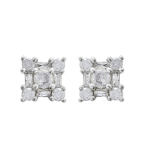 9K White Gold SGL Certified Diamond (G-H/I3) (Rnd & Bgt) Floral Earrings (with Push Back) 0.500 Ct.
