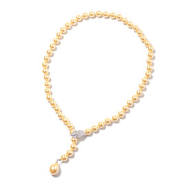 Golden Shell Pearl and Simulated Diamond Adjustable Beaded Necklace 24 Inch
