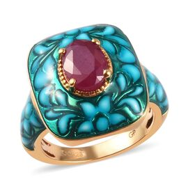 GP 1.52 Ct AA African Ruby and Blue Sapphire Floral Ring in Gold Plated Sterling Silver