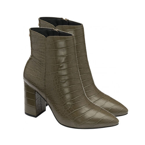 Ravel Croc-Print Soriano Ankle Boots (Size 8) - Khaki
