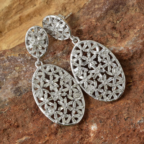 Diamond (Bgt) Dangle Earrings (with Push Back) in Platinum Overlay Sterling Silver 1.050 Ct