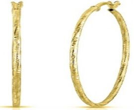 Italian Made-Yellow Gold Overlay Sterling Silver Hoop Earrings (with Clasp)