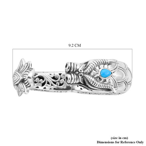 Royal Bali Collection - Arizona Sleeping Beauty Turquoise Dragon Hinged Cuff Bangle (Size 7.5) in Sterling Silver, Silver wt 97.00 Gms