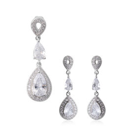 2 Piece Set - ELANZA Simulated Diamond (Pear and Rnd) Pendant and Earrings (with Push Back) in Rhodi