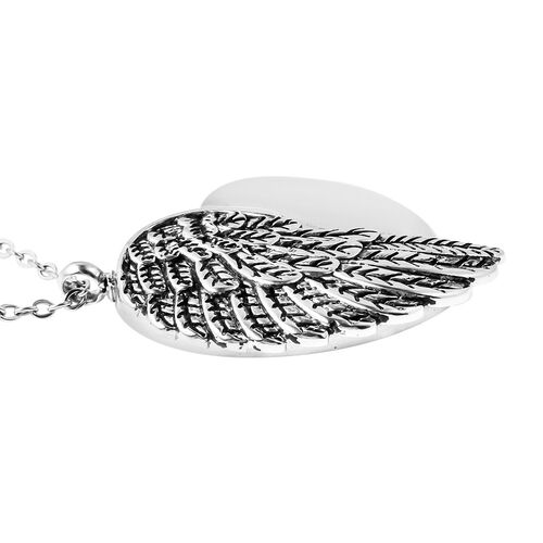 2 Piece Set - Memorial Feather Heart Pendant with Chain (Size 20) and Funnel with Needle in Stainless Steel