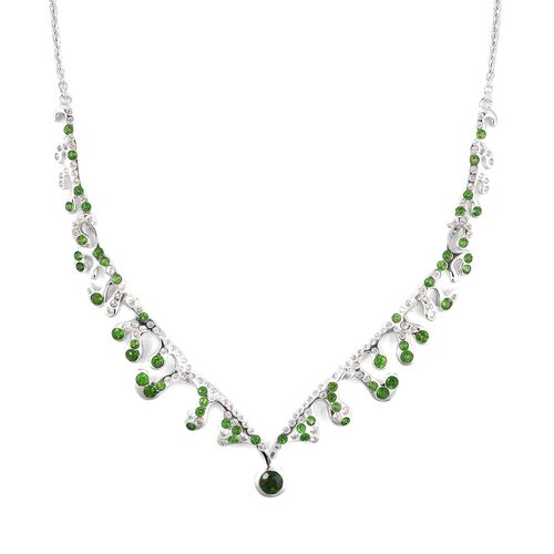 LUCY Q 3.02 Ct Russian Diopside and White Zircon Statement Necklace in Sterling Silver