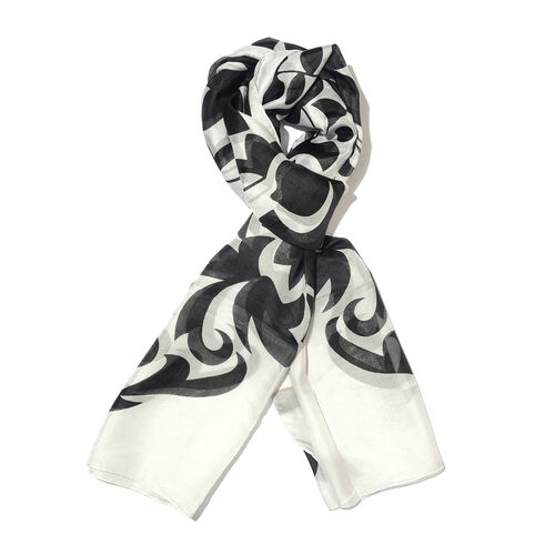 100% Mulberry Silk Black, Grey and White Colour Hand Screen Floral Printed Scarf (Size 180x100 Cm)