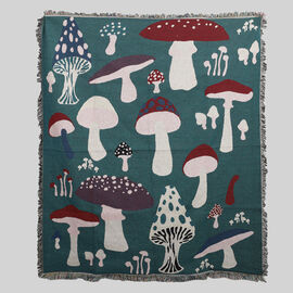 Jacquard Woven Mushroom Printed Throw with Fringes (Size -150x130Cm) - Teal, Beige and Multi