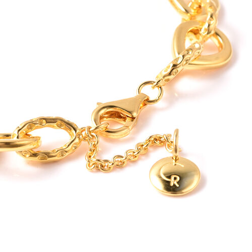 RACHEL GALLEY Yellow Gold Overlay Sterling Silver Love Link Bracelet (Size 7.5 with 1 inch Extender), Silver wt. 17.44 Gms