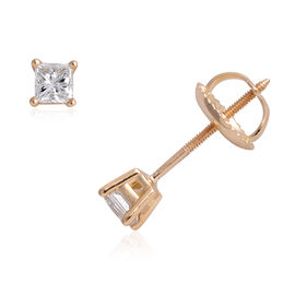 ILIANA 18K Yellow Gold EGL Certified (SI/G-H) Diamond (Sqr) Stud Earrings (with Screw Back) 0.330 Ct.