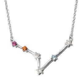 Diamond, Rhodolite Garnet, and Multi Gemstone  Necklace (Size - 20) in 14K Gold Overlay Sterling Sil