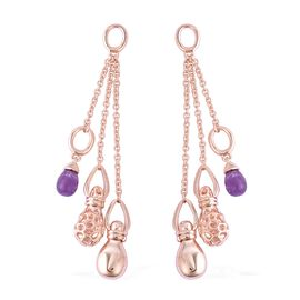 RACHEL GALLEY 3.62 Ct Amethyst Dangle Earrings in Rose Gold Plated Sterling Silver