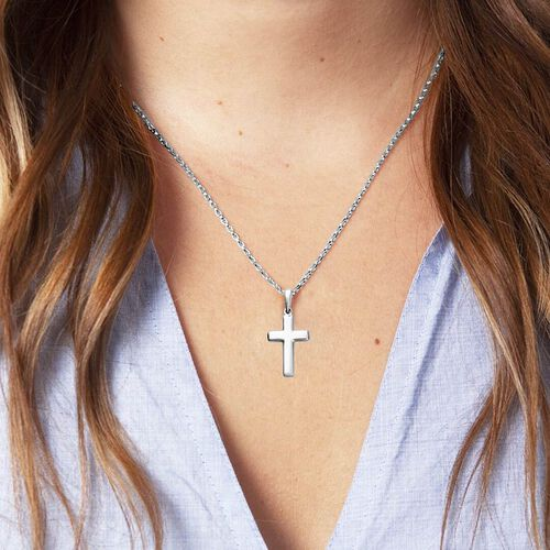 RHAPSODY Plain Cross Pendant in Supreme Finish 950 Platinum