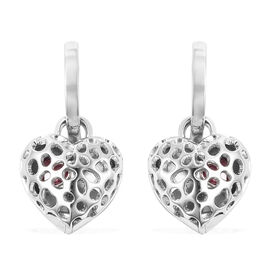 RACHEL GALLEY Angel Heart Collection - African Ruby Lattice Heart Charm Hoop Earrings (with French C