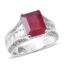 8.85 Ct African Ruby and White Topaz Solitaire Design Ring in Rhodium Plated Silver 5.93 Grams