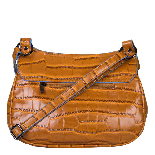 Bulaggi Collection - Daisy Crossbody Bag with Flap Closure and Adjustable Shoulder Strap (29x22x9cm) - Rust Colour