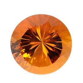 Brilliant Cut Round Shape Crystal Glass Decoration - Citrine Colour