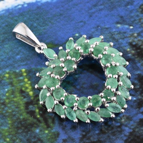 Kagem Zambian Emerald (Rnd) Heart Pendant in Platinum Overlay Sterling Silver 3.000 Ct.