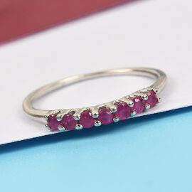 Burmese Ruby Ring in Platinum Overlay Sterling Silver