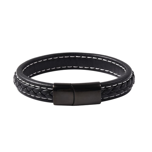 Bracelet (Size 8.25) in Stainless Steel - Classic Black