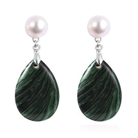 Malachite and White Freshwater Pearl Earrings (with Push Back) in Rhodium Overlay Sterling Silver