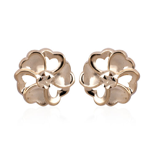 9K Yellow Gold Flower Stud Earrings (with Push Back) 1.37 Grams
