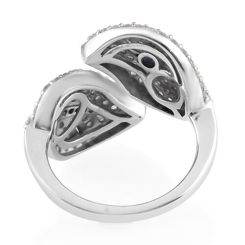 GP - Energy of Life- Diamond and Blue Sapphire Leaf Bypass Ring in Platinum Overlay Sterling Silver 1.02 Ct.