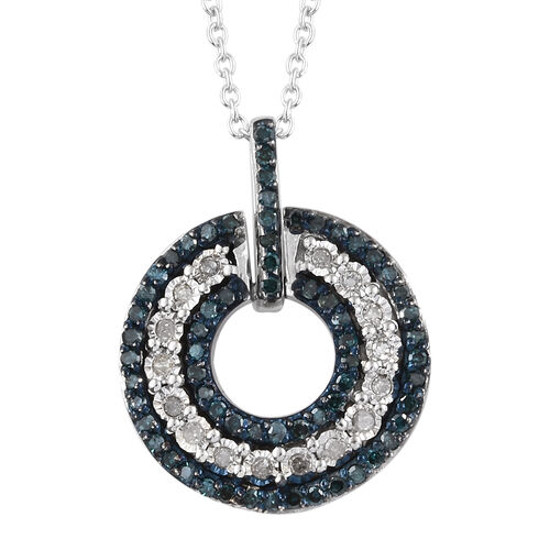 Blue and White Diamond (Rnd) Pendant With Chain in Platinum Overlay Sterling Silver 0.330 Ct.