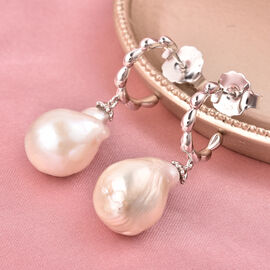 LucyQ - Freshwater White Baroque Pearl Earrings (with Push Back) in Rhodium Overlay Sterling Silver