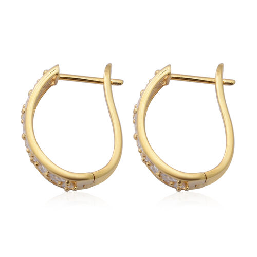 ELANZA Simulated Diamond Earrings (with Clasp) in Yellow Gold Overlay Sterling Silver