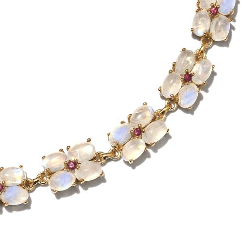 Exclusive Edition-Sri Lankan Rainbow Moonstone (Ovl), African Ruby Necklace (Size 18) in 14K Gold Overlay Sterling Silver 80.500 Ct. Silver wt 25.73 Gms. Number of Gemstone 135