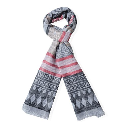 Wine Red, Black and Multi Colour Scarf with Strip and Rhombus Pattern (Size 190x70 Cm)