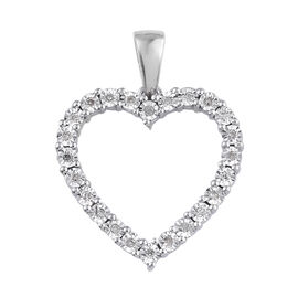 Diamond Heart Pendant in Platinum Plated Sterling Silver