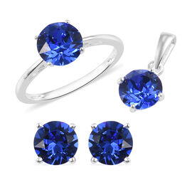 3 Piece Set - J Francis Crystal from Swarovski Sapphire Colour Crystal Solitaire Ring, Stud Earrings