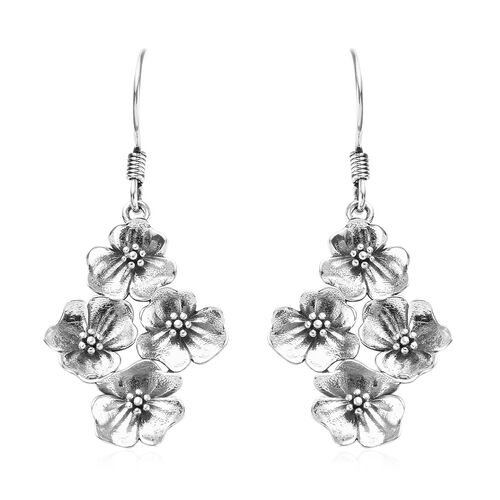 Black Rhodium Overlay Sterling Silver Floral Hook Earrings, Silver wt 5.20 Gms