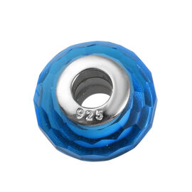 Charmes De Memoire Blue and White Murano Glass Bead Charm in Platinum Plated Sterling Silver