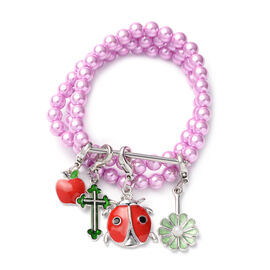 Set of 3 - Pink Shell Pearl Stretchable Enamelled Four Charm Bracelet