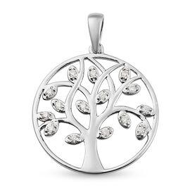 Moissanite Pendant in Platinum Overlay Sterling Silver