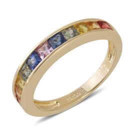9K Yellow Gold AAA Rainbow Sapphire (Princess Cut) Band Ring 1.240 Ct.