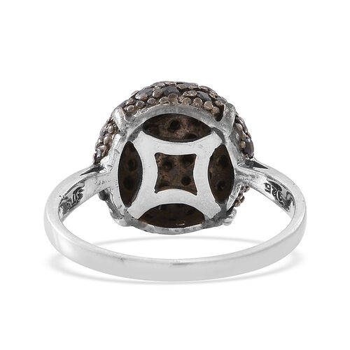 Boi Ploi Black Spinel (Rnd) Cluster Ring in Rhodium Plated Sterling Silver 2.500 Ct.