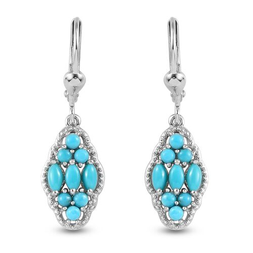 Arizona Sleeping Beauty Turquoise Dangling Lever Back Earrings in Platinum Overlay Sterling Silver 1