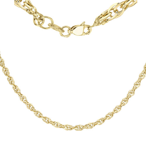 9K Yellow Gold Diamond Cut Prince of Wales Chain (Size 16), Gold wt 3.40 Gms